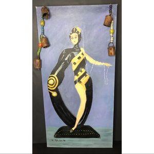Etre pearls & emeralds Art Deco painting